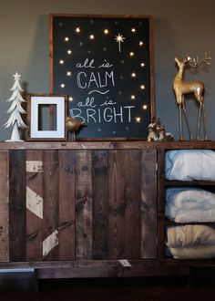 "Ana White | Build a Lighted Holiday Chalkboard Sign ""All is Calm, All is Bright"" 