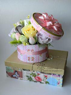 конфетный букет, свит дизайн, букет в шляпной коробке, bouquet, paper flowers, Сашин мир