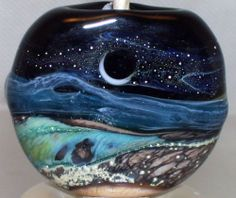 WSTGA~A MILLION STARS~SEA European charm handmade lampwork focal glass bead SRA  By Molly Cooley