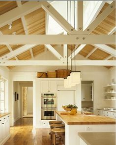 contemporary farmhouse kitchen with W truss. Make for our kitchen. Modern Farmhouse Kitchens, Farmhouse Style Kitchen, Home Kitchens, Country Kitchen, White Farmhouse, Farmhouse Interior, Bungalow Kitchen, Kitchen Interior, Ranch Kitchen