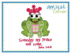 920 Frog Someday My Prince Will Come by AppliqueCornerDesign, $4.00