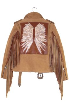 RIDE THE STORM JACKET by Understated Leather features engraved & hand painted back patch & laser cut fringing on tan leather motorcycle jacket.