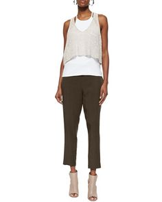 Organic Melange Linen Grain-Stitch Crop Top, Halter Ribbed Yoga Cami & Slouchy Drawstring Ankle Pants by Eileen Fisher at Neiman Marcus.