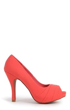 Pleated Chiffon Pump with Small Platform and Peep Toe Fancy Shoes, Cute Shoes, Me Too Shoes, Coral Wedding Shoes, Coral Heels, Event Dresses, Occasion Dresses, Deb Shops, Everyday Shoes