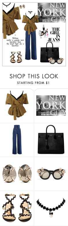 """The girl in jeans"" by frenchfriesblackmg ❤ liked on Polyvore featuring Acler, Brewster Home Fashions, Sara Battaglia, Yves Saint Laurent, Melissa Joy Manning, Alice + Olivia and Chloé"