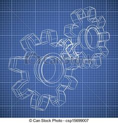 3D gear wheel sketch drawing on blueprint background. - csp15699007