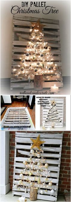 Pallet Lighting Christmas Tree. Make a Christmas tree from reclaimed pallets and decorate with Christmas ornaments and fairy lights. It gives a touch of warmth to your Christmas decoration. #decorateoutdoorsstringlights