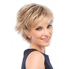 Spiffy Short Haircut Fluffy Straight Blonde Brown Mixed Synthetic Wig For Women
