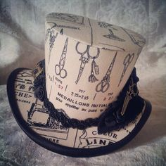 """4"""" Mini top hat, Steampunk, Rockabilly, Retro, Shabby Chic, Burlesque, Bridal hat, Party Hat, Wedding Hat, Whimsical, Shabby chic, Carnival"""