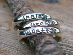 Stackable Rings Name Rings Personalized by namejewelrydesigns, $25.00