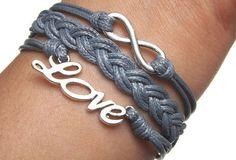 Unisex simple fashion silver 8 infinity wish and LOVE bracelet -- gray wax rope braided leather bracelet on Wanelo