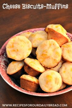 Cheese Biscuits-Muffin-Recipe   - If you need a quick and easy bread recipe, these Cheese Biscuits are definitely quick, easy and delicious.  The sharp cheese mixed with the sugar is a great combination. http://recipesforourdailybread.com/2013/03/08/cheese-biscuits-muffin-recipe/ #bread #biscuits #muffins