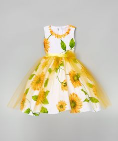 This White & Yellow Sunflower A-Line Dress - Infant, Toddler & Girls by Kid Fashion is perfect! #zulilyfinds