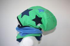 """Mützen - Set: """"Boris"""" grüne Beanie mit 3 Sternen & L... - ein Designerstück von knoepfchenundanton bei DaWanda"""