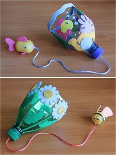 DIY Catch Game: Cut a plastic bottle, pierce hole through top, thread cord, attach other end to empty Kinder Surprise, decorate with foam shapes. Activities For Kids, Crafts For Kids, Arts And Crafts, Foam Shapes, Diy Games, Nature Crafts, Diy Toys, Plastic Bottles, Holidays And Events