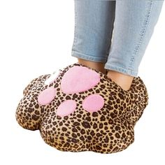 Hengsong Pieds de Chat Hiver en Forme de Chaussures Chaudes/ USB Chauffe Chaussures Chaudes/ Chaussons Chauffants--Unisex (Léopard): Amazon.fr: Cuisine & Maison