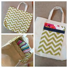 DIY large beach tote bag in chevron and canvas