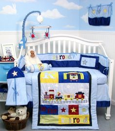 Railroad Train Baby Boy Crib Nursery Bedding Set 13 pcs included Diaper Bag with. Railroad Train B Baby Boy Crib Bedding, Boy Nursery Bedding Sets, Baby Crib Sets, Baby Boy Cribs, Baby Boy Nurseries, Baby Rooms, Baby Baby, Train Nursery, Boy Diaper Bags