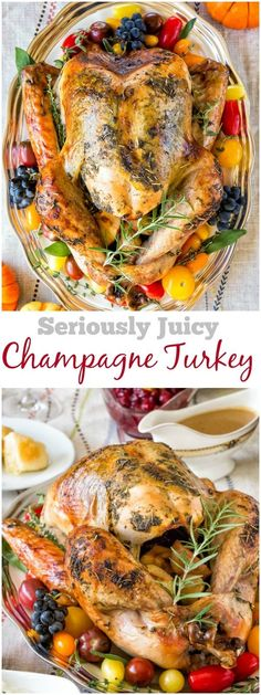 Juicy flavorful whole turkey roasted in champagne! It as divine as it sounds! #Thanksgiving #ThanksgivingMenu #ThanksgivingRecipes #RoastTurkey #howtoroastawholeturkey #wholeturkey