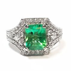 Estate 2.91 Carats Natural Colombian Emerald Cut Emerald Ring 18k White Gold
