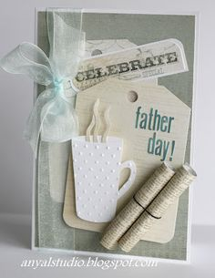 My creative corner: Cards for Mom and Dad. Cool Cards, Diy Cards, Coffee Cards, Fathers Day Crafts, Masculine Cards, Card Tags, Paper Cards, Greeting Cards Handmade, Scrapbook Cards