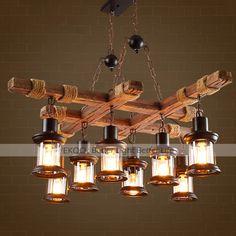 Cheap Chandelier, Chandelier Lighting, Chandeliers, Rustic Lamps, Rustic Industrial, Antique Lighting, Rustic Lighting, Wooden Cafe, Chandelier In Living Room