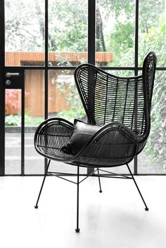 Rattansessel Egg Chair Schwarz   2
