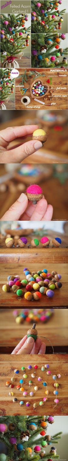Preciosa guirnalda de bellotas de felpa - http://www.themagiconions.com/
