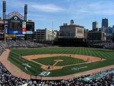 Comerica Park in Detroit, MI, home of the Tigers. Large ballpark with outstanding views in centerfield. -IK
