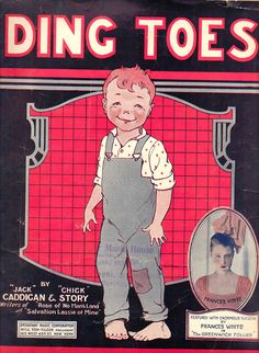 1920 Ding Toes Sheet Music Frances White in The Greenwich Follies Roaring Twenties Broadway Typography Silverscreen Actor Hollywood Regency
