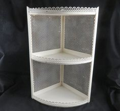 Mid Century Metal Corner Cabinet  Off White 3 Tier by CheekyBirdy