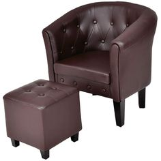 Giantex Accent Armchair Club Seat PU Leather Barrel Tub Tufted Modern Living Room Chair with Cushion and Ottoman (Coffee) Chair And Ottoman, Armchair, Chesterfield Chair, Living Room Chairs, Pu Leather, Tub, Barrel, Accent Chairs, Cushions