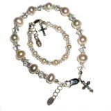 """Sterling Silver Mother & Daughter Bracelets / Mom & Me Bracelet Set with Freshwater Pearls and Cross and Heart Gift Box, 6-11 years (Child 6 - 6.5"""" and Mother 7 - 7.5"""" adjustable) -"""