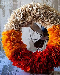 Candy Corn Colored Wreath Tutorial: Elegant and simple—this is one of the easiest ways to add some autumn flair to your home.