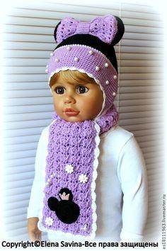 """Купить Комплект """"Минни"""" (сирень) - сиреневый, шапочка, шапочка для девочки, вязаная шапочка, шапочки мордашки"""
