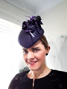 OMG this leather headpiece is one of my most favourites, and I really want to keep it but I know I can make another!. Purple leather blocked on a hatblock and netting with a abstract leather trim I created with my own two hands!. Race wear hats, headpieces and accessories - Visit my online shop!. www.julieherbertmillinery.com.au Race Wear, Two Hands, Purple Leather, Most Favorite, Headpieces, Fascinator, Baseball Hats, Abstract, Creative