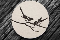 """""""Two for Joy"""" – a contemporary black and white illustration of two magpies sitting on a branch. These double sided letterpress beer mats were used to direct guests to the wedding website.You are in the right place about tattoos for women Here we offe Magpie Tattoo, Letterpress Wedding Stationery, Stationery Design, Beer Mats, Pulp, Black And White Illustration, Small Tattoos, Save The Date, Printmaking"""
