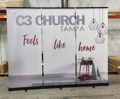 """C3 Church in Tampa uses (3) three - 33"""" stand-up banners placed side by side to create a 10 foot message."""