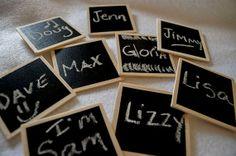 Chalk board name tags, what a fun idea for meetings!