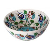 Iznik Porcelain Bowl with Pomegranate and Tulip Pattern_#Globein