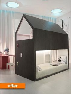 IKEA's KURA bed is meant to be flexible — the structure is reversible and the mattress can either be put on the bottom or on top as a loft bed. But even IKEA couldn't have anticipated the changes that Gisela made to it, in this really nice hack...