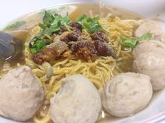 Egg Noodle clear broth with Pork Balls.
