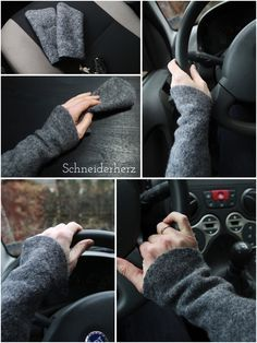 (including sewing pattern) Self-sewn walking warmers for warmth while driving Fingerless Mittens, Knitted Slippers, Wrist Warmers, Hand Warmers, Striped Gloves, Lace Braid, Work Gloves, Winter Accessories, Lace Knitting