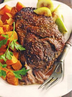 Slow cooker Italian pork with sweet potatoes.This delicious recipe belongs to Fine Italian cuisine.Pork shoulder roast with spices and sweet potatoes cooked in slow cooker.