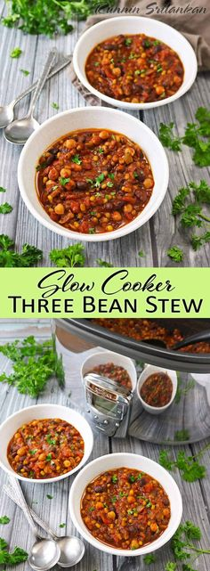 Slow Cooker Three Bean Stew Healthy Slow Cooker, Slow Cooker Recipes, Soup Recipes, Crockpot Recipes, Quick Easy Meals, Healthy Dinner Recipes, Healthy Soups, Eating Healthy, Cooking