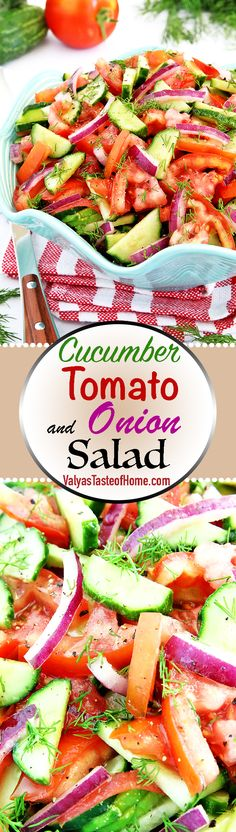 Cucumber, Tomato, and Onion Salad Recipe « Valya's Taste of Home Kitchen Recipes, Raw Food Recipes, Salad Recipes, Healthy Recipes, Cucumber Tomato And Onion Salad Recipe, Friend Recipe, Food Website, World Recipes, Healthy Side Dishes