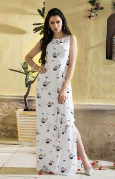 d9499743d610 White Long Sleeveless American Crepe Dress   Tunics   Top -