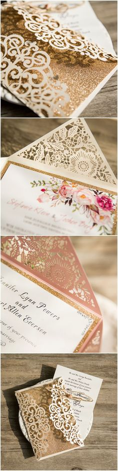 Sparkle your big day with these amazing glittery gold elegant laser cut wedding invitations...FREE rsvp cards and envelopes