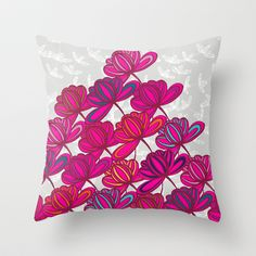 Hot Pink Floral Throw Pillow by Michelle Nilson - $20.00