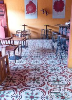 Joyful Cement Tile Floors in Cafe in Granada, Nicaragua